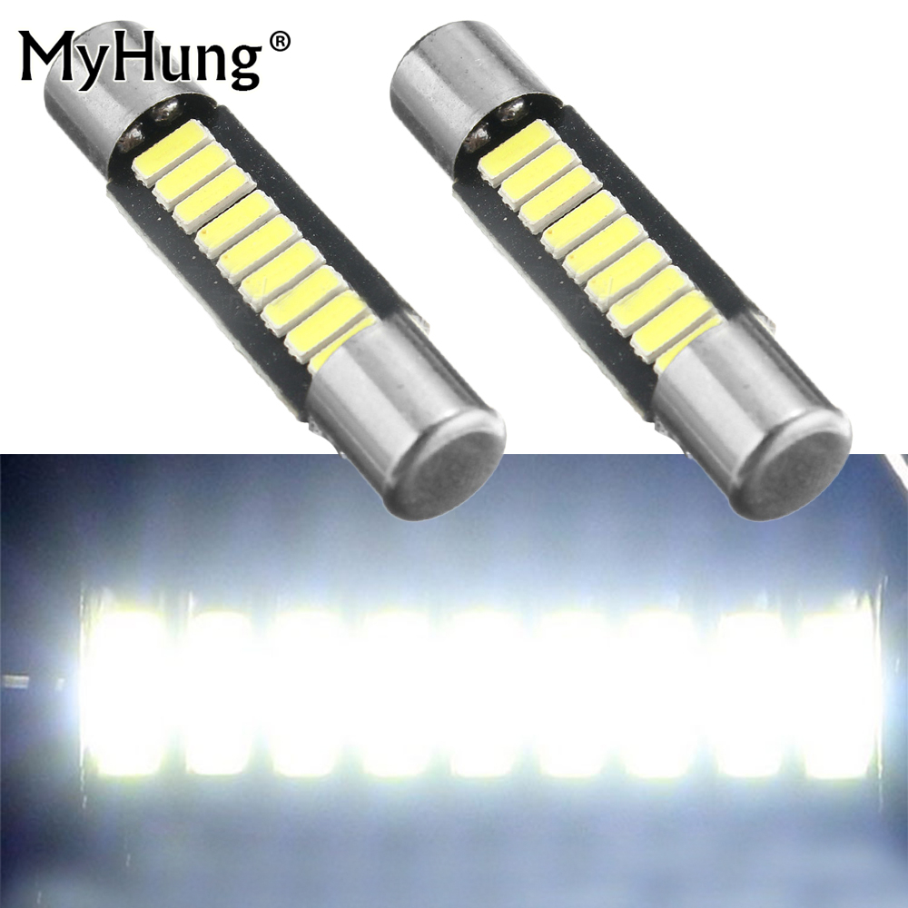 Reading Light White 29mm 4014 Fuse Style 9SMD LED Replace Bulb Auto Vanity Mirror Lights 12V DC Sun Visor Lamps For Cars 2pcs