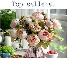 Продажи сырой шелк цветок искусственные цветы фестиваль патриарх Дэн размещено цветок корсаж (8 цветочных головок) 611