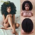 Короткий Афро Кудрявый Кудрявые Парики, Кружева Малайзии Девы Волос Afro Kinky Фронта шнурка Человеческих Волос Парик Бесклеевого Странный Вьющиеся Full Lace Wig