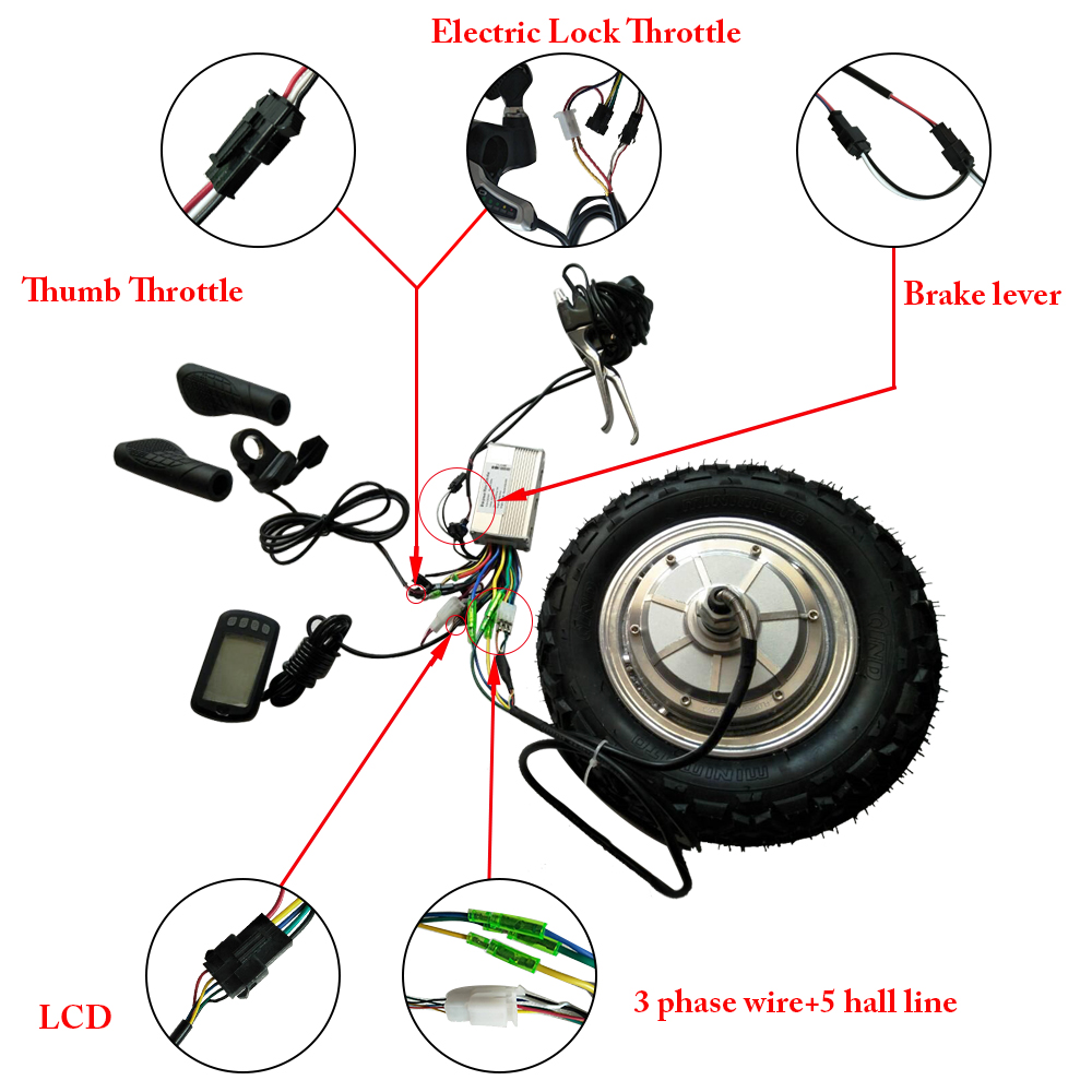 small resolution of ebike conversion kit 13inch bldc electric wheel motor 24v 250w 500w hub motor kit with controller lcd handlebar brake in electric bicycle motor from