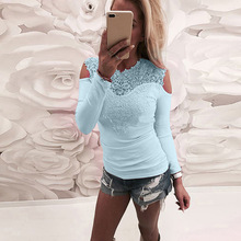 Spring Sexy Lace Stitching Shoulder-open T-shirt Womens Long Sleeve Tops  V-Neck  Solid  Casual Elegant  Mesh Embroidery T Shirt open shoulder sleeve womens lace dress