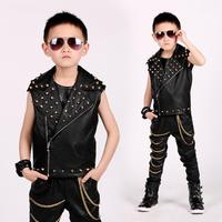 Fashion Baby boys Vest locomotive leather jacket rivet waistcoat Performance clothing Modis children stage dance costume Y1230