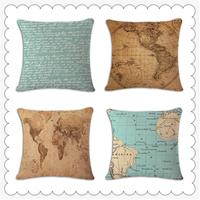 World Map Retro Cushion Covers Home Decorative Car Styling Nordic Style Capa De Almofada Pillow Case