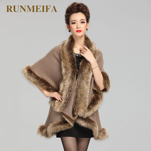 [RUNMEIFA] Зима Для женщин свитер кардиган женский лисий меховой воротник пончо накидка Свадебная шерстяная шаль накидка