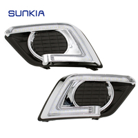SUNKIA 2Pcs Set LED Car DRL Daytime Running Lights Turn Signal For Nissan Xtrail X Trail