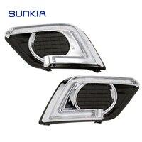 SUNKIA 2Pcs Set LED Car DRL Daytime Running Lights Turn Signal For Nissan Xtrail X Trail