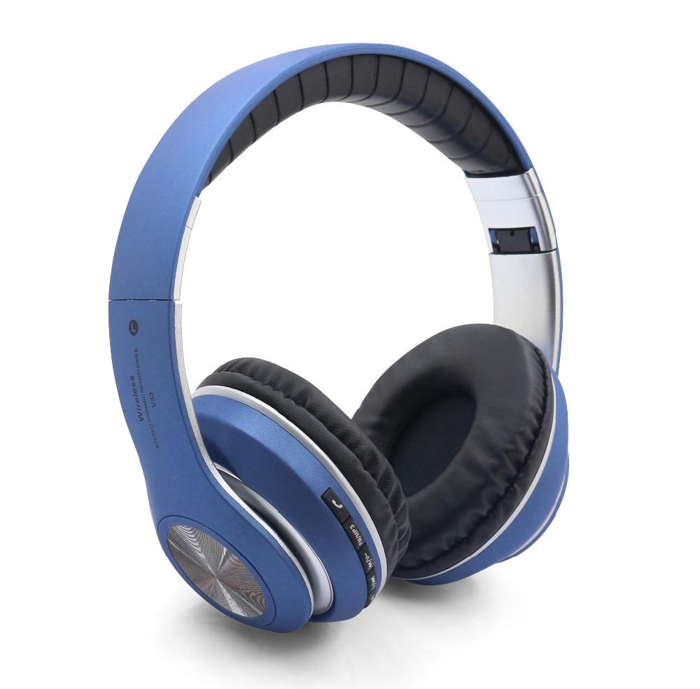 V33 Bluetooth Wireless Headphones Hifi Studio Call Center FM Radio Blue Tooth Headset Wh ...