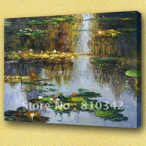 Handgjord oljemålning kanfaskonst Claude Monet Water Lilies berömd - Heminredning