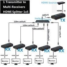 1x5 HDMI по IP удлинитель 1 Отправитель 5 приемник через Cat5e Cat6 HDMI передатчик Cat5 к UTP LAN Rj45 Ethernet TCP сплиттер IP