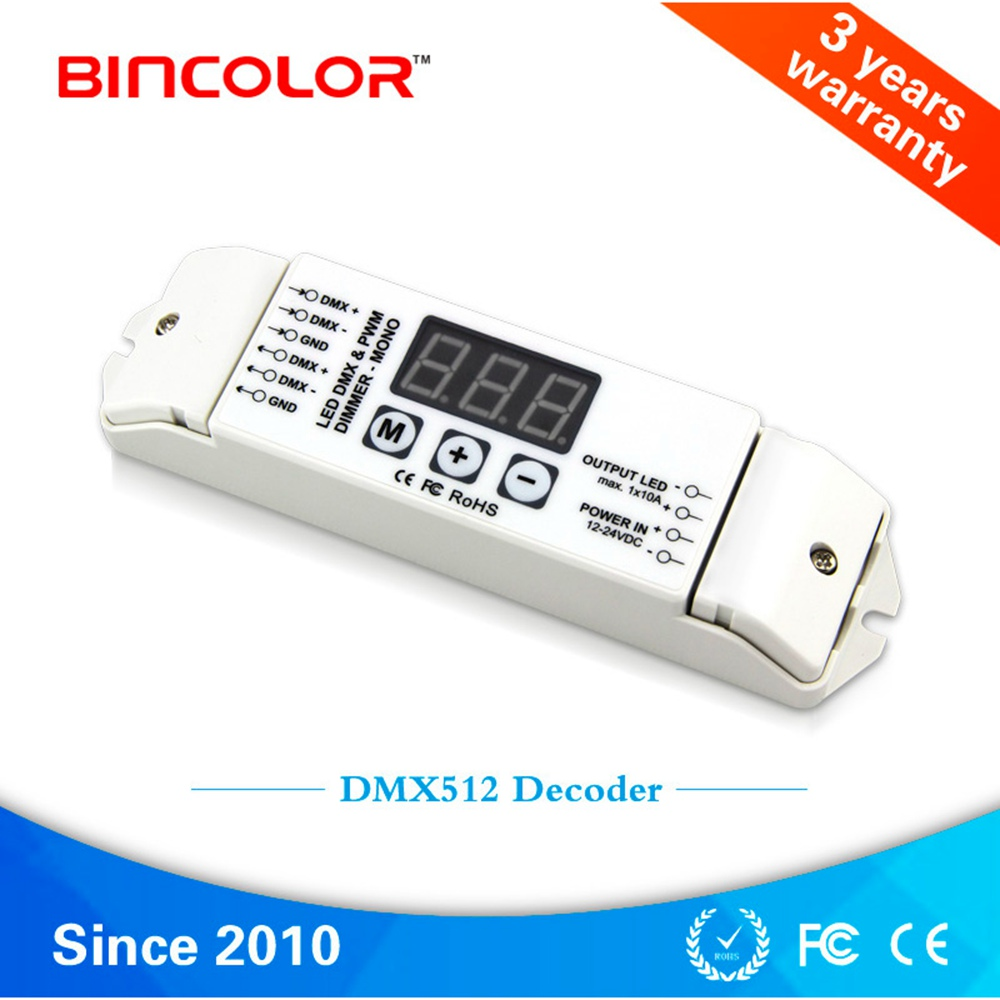 DMX512/1990 Constant Voltage Decoder Output 10A*1CH PWM DMX Single Color Controller Dimmer For LED Lamp BC-831 DC12V-24V