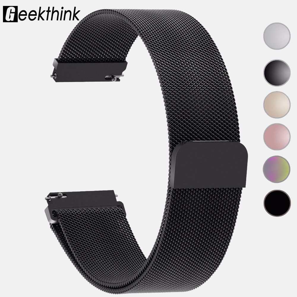 22mm 20mm Stainless Steel Band Watch Strap Milanese Loop Watch Strap Quick Release Pins For Samsung Gear Xiaomi Huami Amazfit