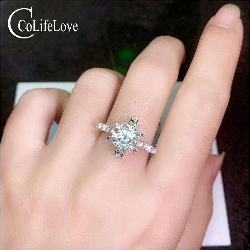CoLife bijoux mode bague de fiançailles pour femme 0.5ct 1ct 2ct F couleur Moissanite bague pour mariage 925 argent Moissanite bijoux