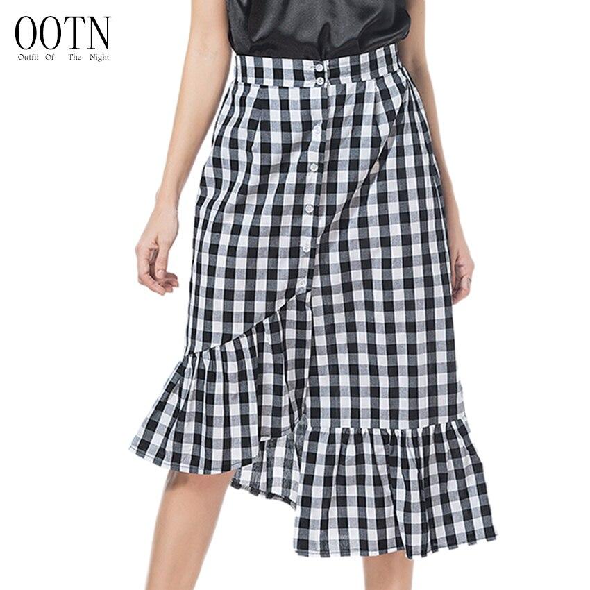 4a27f47c7b7211 OOTN Black Gingham Skirt Women Asymmetrical Cotton Botton Midi Skirts  Female Autumn Winter Ruffles Plaid Skirt Red Beach Wear