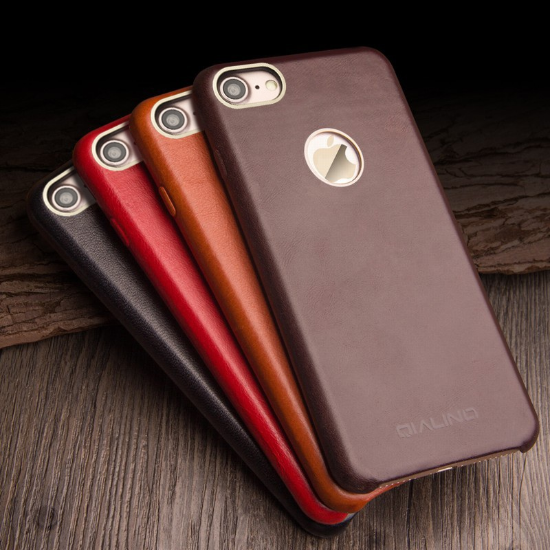 QIALINO for iPhone 7 4 7 inch Calf Skin Genuine Leather Coated Back Phone Cases Bag