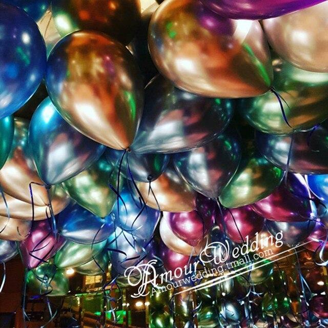 50/100pcs 12inch Chrome Latex Balloons Wedding Party Decor Globos Metallic Thick Pearly Metallic Latex Ballon Helium balloon