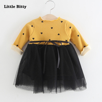Newborn Baby Girl Dresses Autumn New Baby Dress Long Sleeve Bowknot Brushed Clothing For Girls 1
