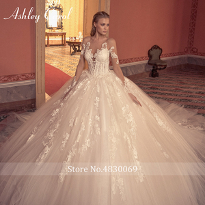 Image 3 - Ashley Carol Ball Gown Wedding Dress 2020 Long Sleeve Bridal Luxury Beaded Appliques Illusion Cathedral Princess Bride Dresses