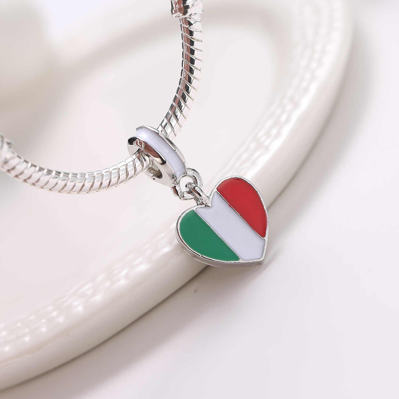 פופולרי DIY מקורי איטליה דגל חרוזים אירופיים Fit קסמי תליון צמידים & צמידי לב צורה גדולה חור חרוזים תכשיטי DIY