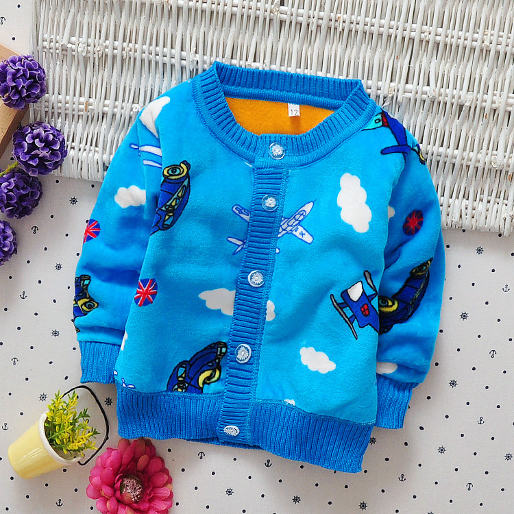 2017 Autumn Winter Baby Boys Christmas Clothes Kid Car Plane Warm Sweaters 0-2years Toddler Boy Cardigan O-neck Thick Outerwear