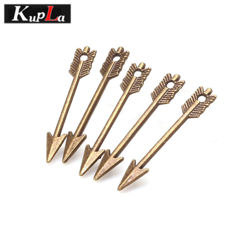 Kupla Arrow Charms Vintage Metal DIY Charms Fashion Trendy Small Arrow Charms for Jewelry Making 100pcs/lot 5*30mm C5241
