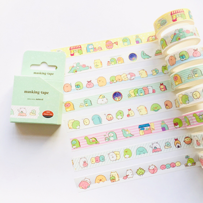 1.5cm*5m Cute Sumikko Gurashi Masking Tape Album Scrapbooking Decor Label Washi Tape