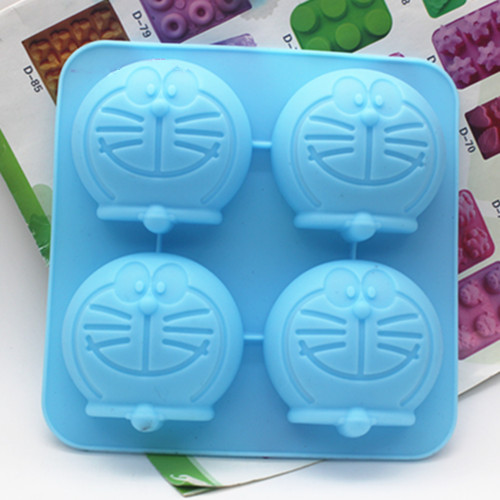 Silicone soap mold 4 Cavity Doraemon shape handmade Chocolate Fondant cake mould Baking mold DIY tools