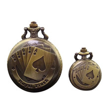 Vintage Bronze Poker Necklace Watch Antique Pocket Watch Pendant Clock Steampunk Men's Quartz Watch Christmas Brithday Gift P22