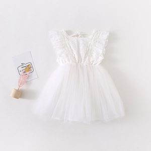 Image 5 - 2019 Summer New Arrival Korean Version cotton pure color all match princess lace vest bubble dress for cute sweet baby girls