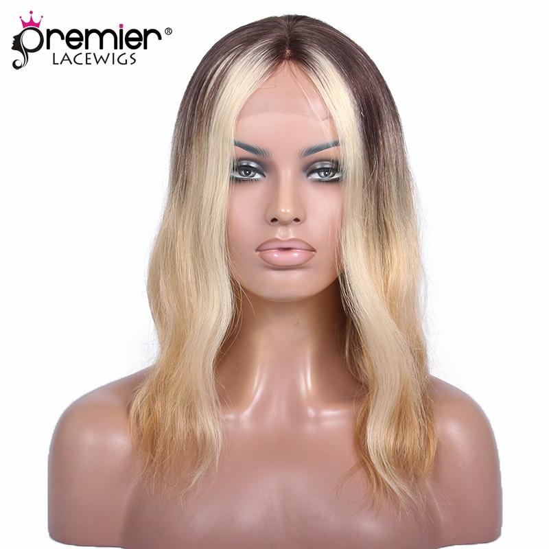 PREMIER Lace Front Wig Ombre Wavy Bob Ciara Honey Blonde Color Medium Bob Virgin Human Hair [CLFW 23]