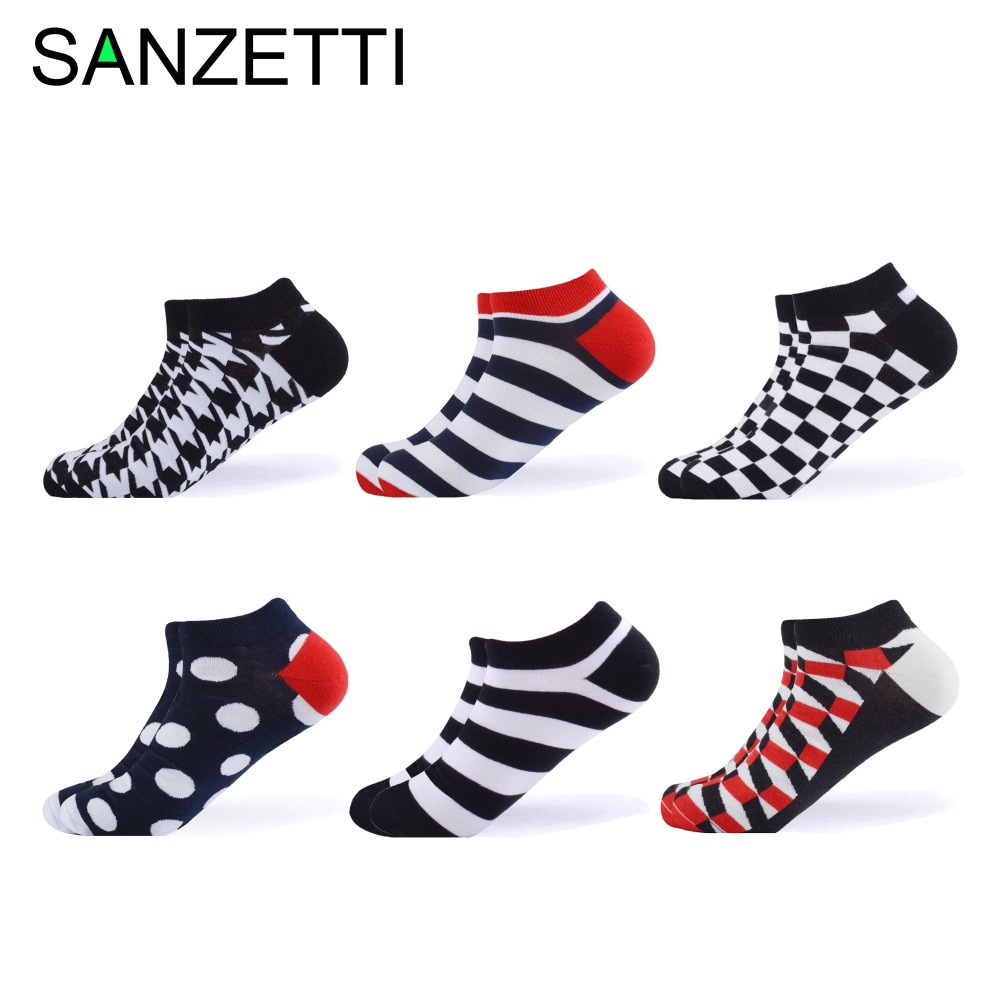 ANZETTI 6 Pairs/Lot Men Women Casual Ankle Socks Combed Cotton Socks Black White Red Plaid Stripes Geometric Pattern Boat Socks