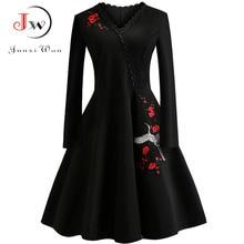 4XL Plus Size Women Embroidery Vintage Dress Black Elegant Bodycon Party Dresses Long Sleeve Casual Autumn Winter Vestidos