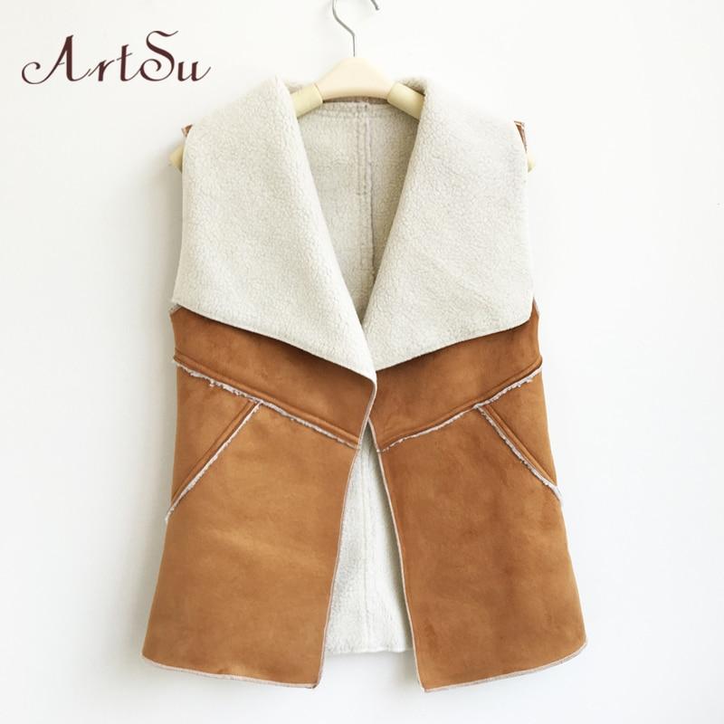 ArtSu Womens Suède Faux Fur Vest Jassen Herfst Winter Nep Fleece - Dameskleding