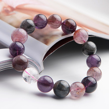 Newly Natural Colorful Auralite 23 Cacoxenite Round Beads Bracelet 13mm Fashion Women Reiki Stone Canada Rarest AAAAA