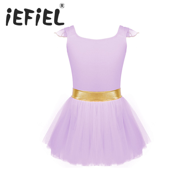 Little Girls Kids Tank Skirt Leotards for Ballet Dance with Gold Waist and Flying Sleeves Ballet Class Gymnastic Exercise Dress