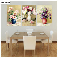 DIY Diamond Painting Flower Vase Pictures 3pcs Round Cross Stitch Needlework Home Decorative Relative Gifts AF084