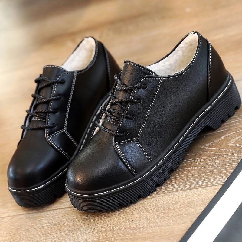 Rétro Appartements Femmes Style Hiver De Lace Printemps Souple Up Chaussures  Oxford Derbies Cuir Britannique Talon Casual En Plat ... 02e8d3444c05