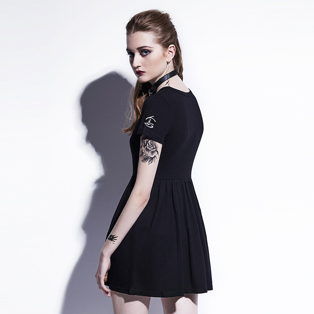 Young17 Gothic Mini Dresses Women Black A-Line Summer New O-Neck Pullover Embroidery Plain Fashion Sexy Club Gothic Mini Dresses 1