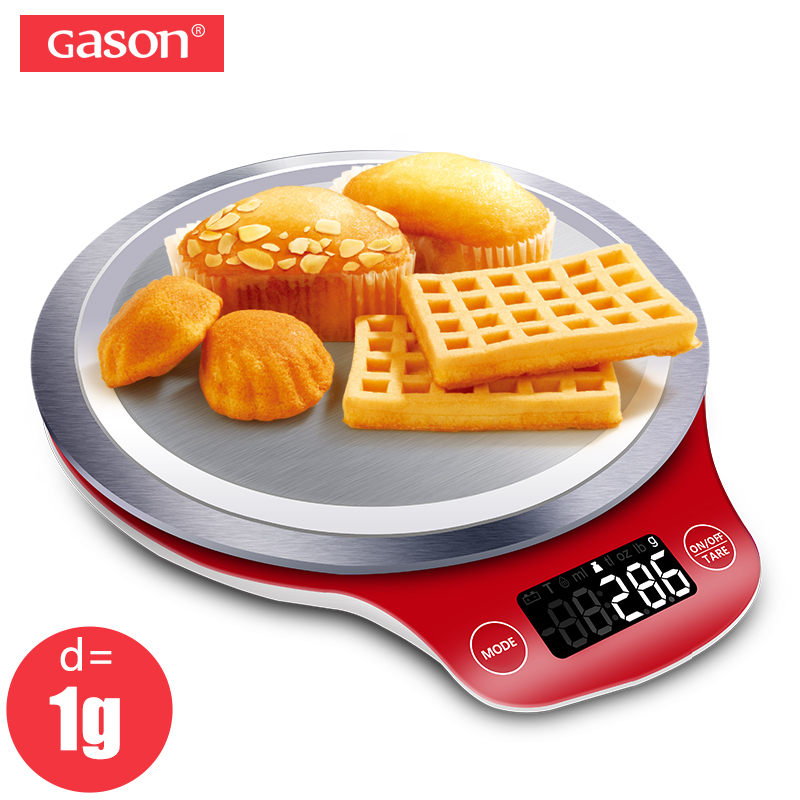 GASON C4 Kitchen Scale LCD Display Accurate Digital Stainless Steel Electronic Cooking Food Diet Precision 5kgx1g