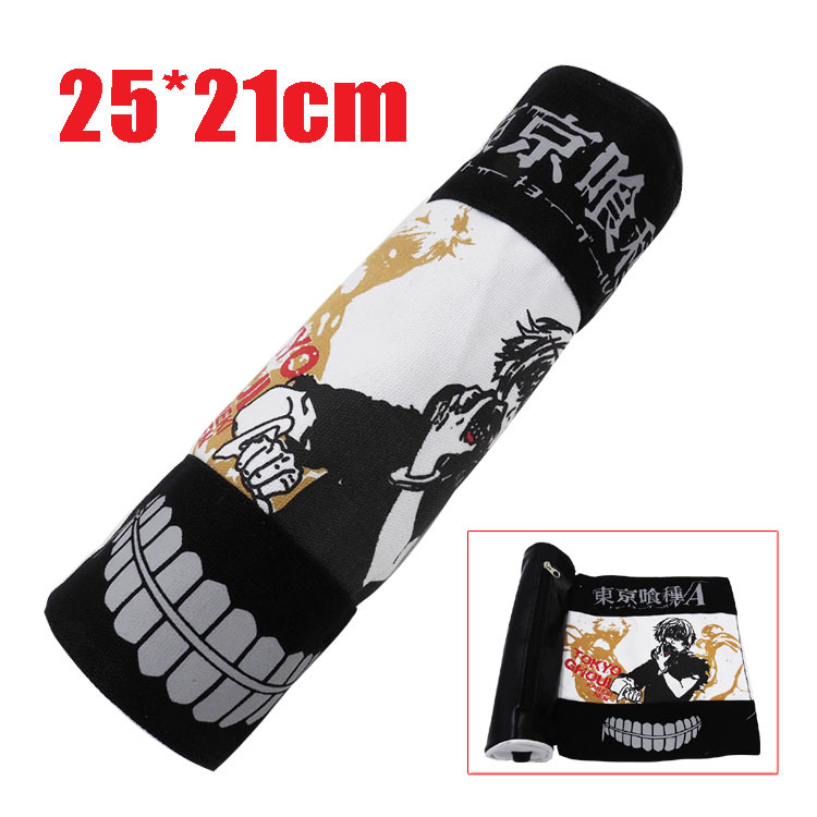 New Tokyo Ghoul Theme Scroll Pen Boxes Multi-Function Stationery Bag Pouches Children Student Pen Bag Kids Purse Wallet Gift