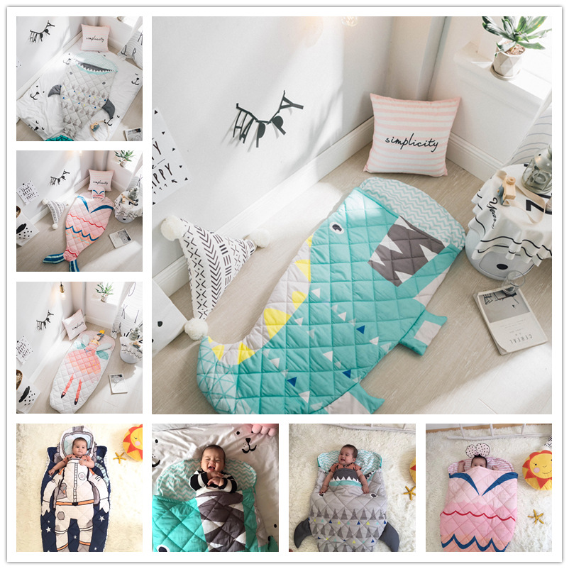 Cartoon Baby Sleeping Bags Shark Astronaut Mermaid Envelope For Newborn Infant Winter Thick Swaddle Blanket Wrap Bedding warmth cartoon penguin pattern knitting mermaid blanket
