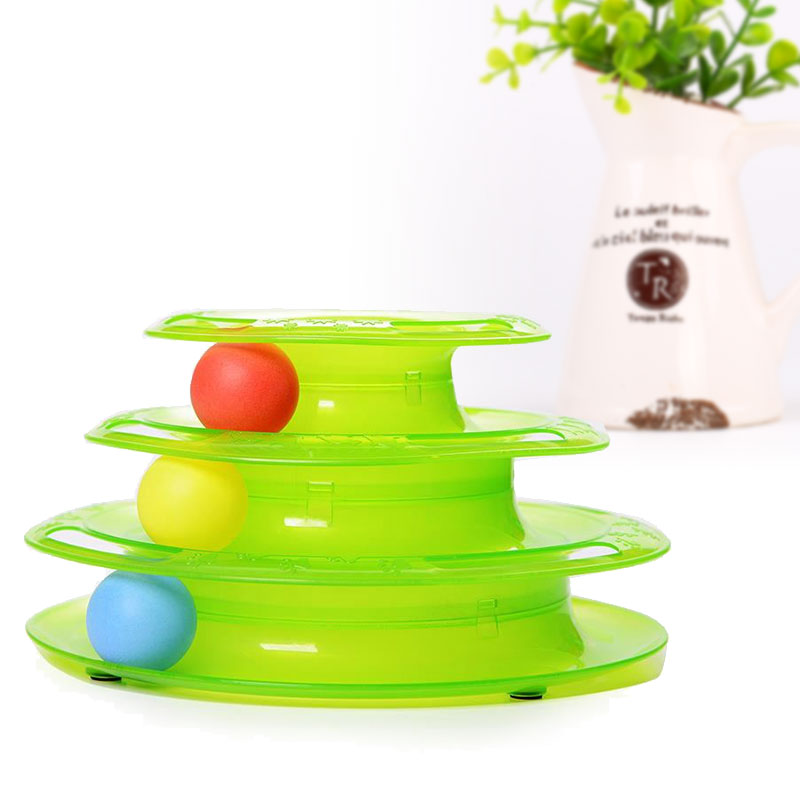 Three-Level Tracks Disc Cat Pet Toy Intelligence Rides Shelf Play Station Green