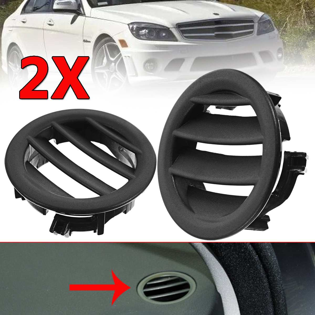 Air Vent W204 Left / Right Car Air Ac Vent Grille Cover Tabs For Mercedes W204 C300 C350 C630 C class 2008 2009 2010 2011