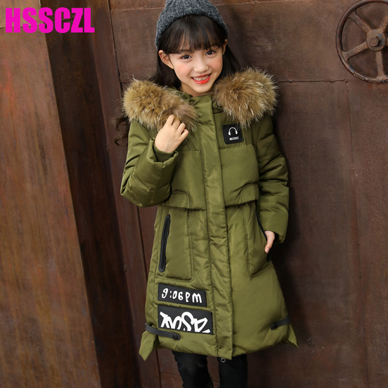 HSSCZL Girls down jackets winter 2017 Brand Long Thicken Hooded Natural Fur Collar Parkas Overcoat Girl coat outerwear 4-14A a15 girls down jacket 2017 new cold winter thick fur hooded long parkas big girl down jakcet coat teens outerwear overcoat 12 14