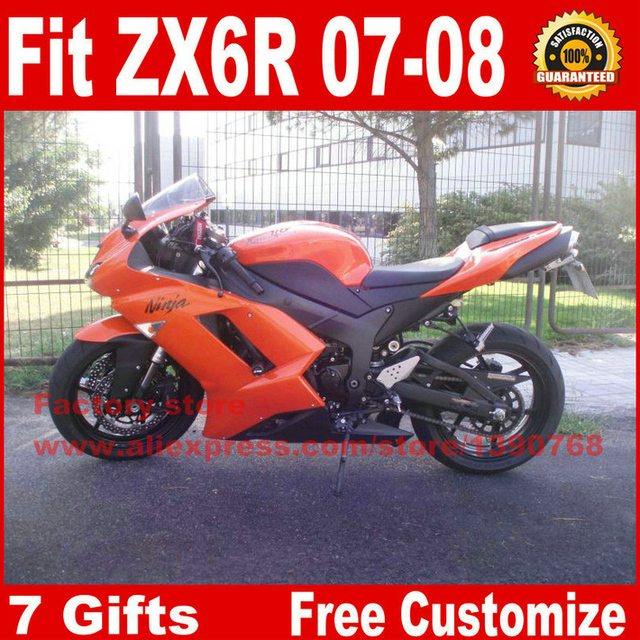 Hot Fairings For Kawasaki ZX6R Fairing Kits 2007 2008 Orange Black Plastic Motorcycle Parts ZX
