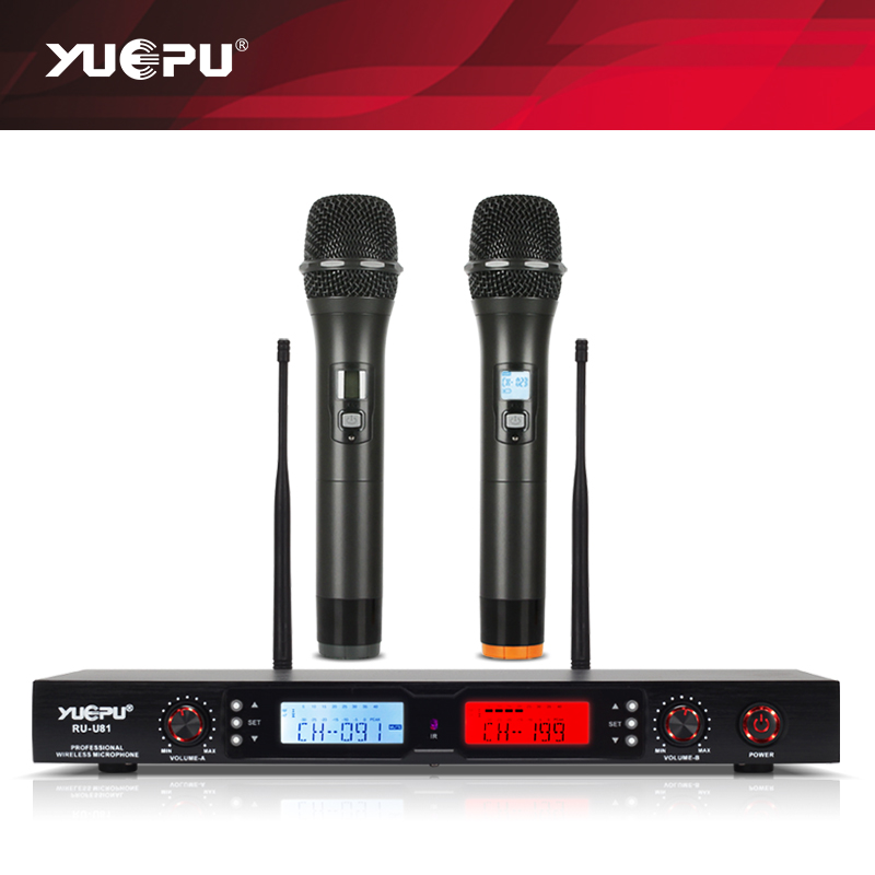 Intelligent Display! YUEPU RU-U81 New Automatic Mute UHF karaoke Microphone Wireless professional Two Channels for Stage Opera
