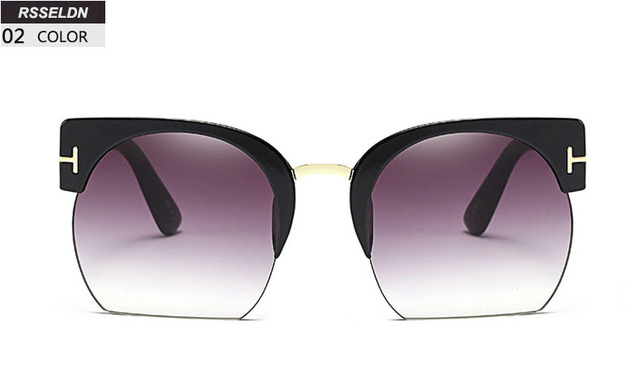 RSSELDN Newest Semi-Rimless Sunglasses Women Brand Designer Clear Lens Sun Glasses For Women Fashion Sunglass Vintage oculos