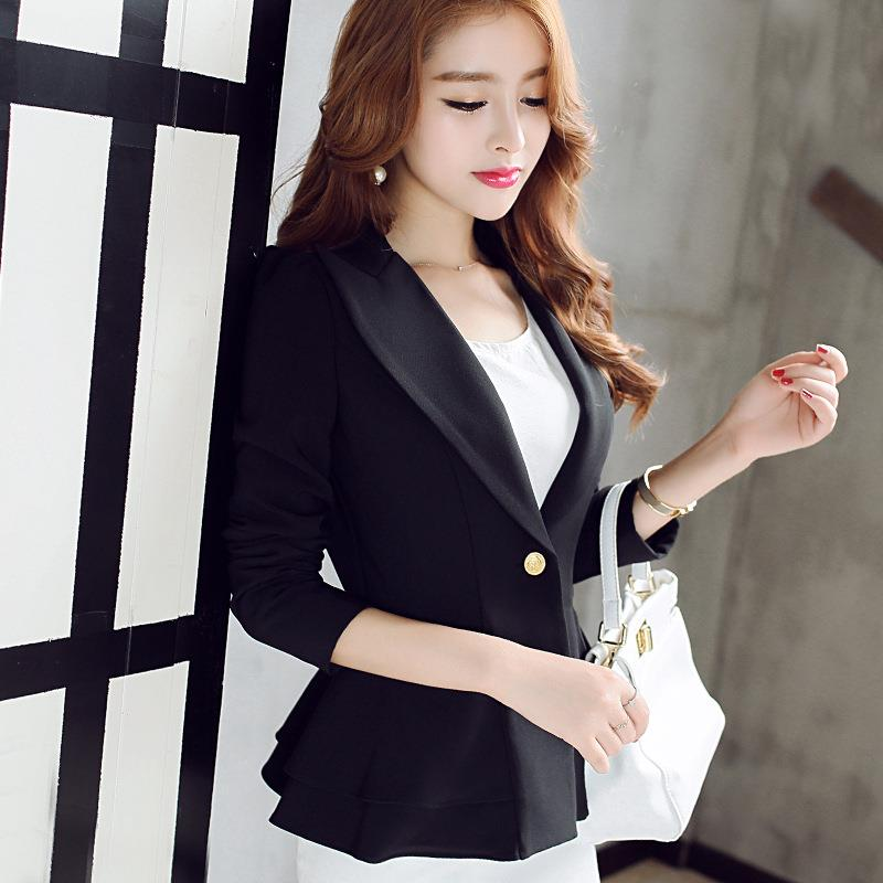 Casual Suits Women 2017 New Fashion Blazers and Jackets Spring Autumn Long Sleeve Blue Business Office Lady Clothing