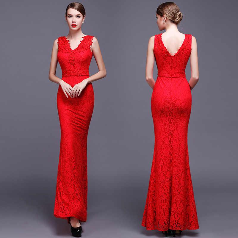 8587528db ... Elastic Lace Qipao Long Chinese Evening Dress Elegant Women Wedding  Party Dresses Red Mermaid Cheongsam Sexy