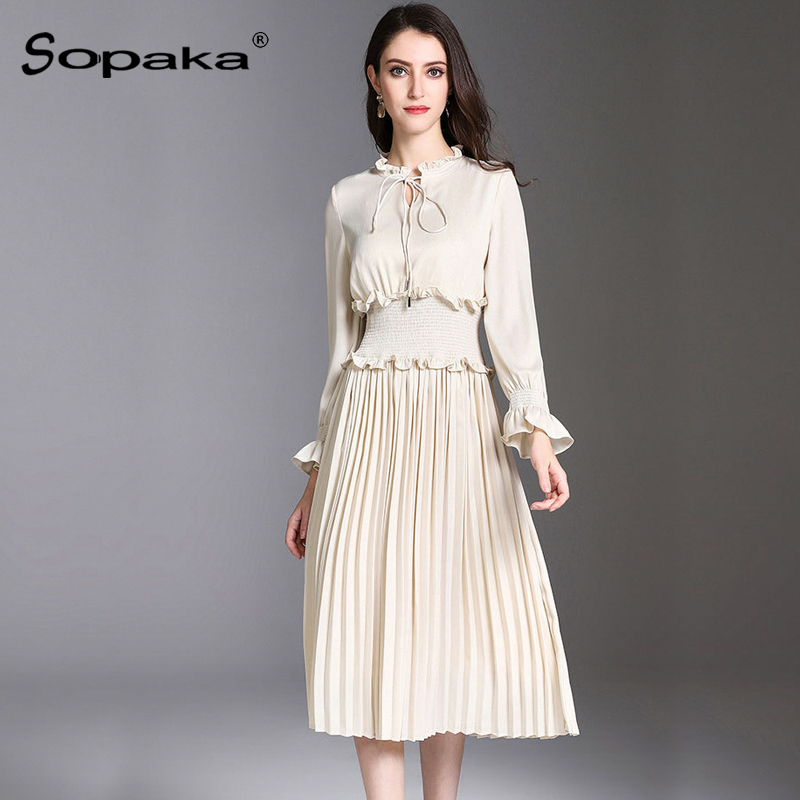 2018 Spring White Solid Dress Full Sleeve Bow Elastic waist Ruffled Empire A Line Casual Office Design Midi Women Dresses white casual round neck ruffled dress