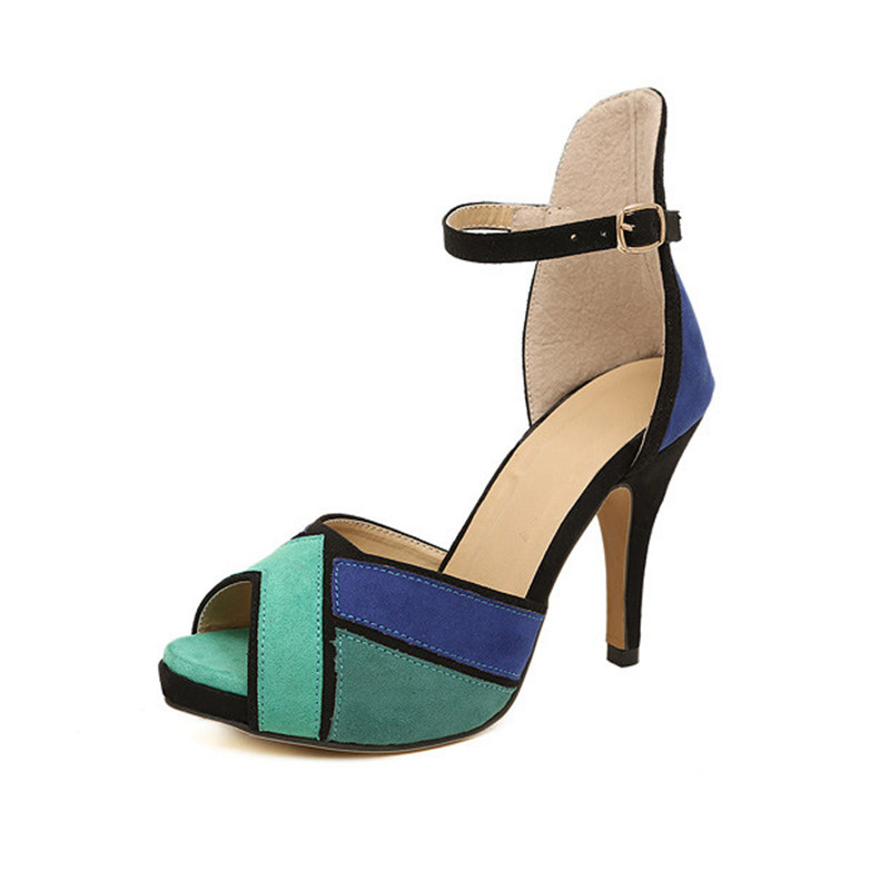 Hot 2016 New Fashion Womens Shoes Peep-toe Pumps Sexy Thick High Heels Vogue Ankle Strap Shoe Multicolor Orange Blue Sandals 2017 new summer women sandals high heels peep toe rhinestone womens wedding shoes fashion crystal ankle strap heels pumps